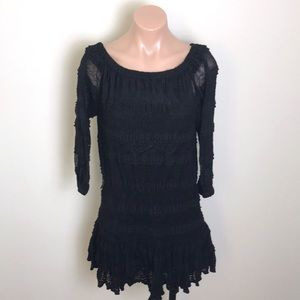 Candies | Black Crochet Mini Dress / Tunic